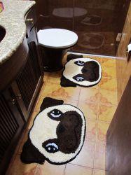 Kit Tapete Banheiro Pug